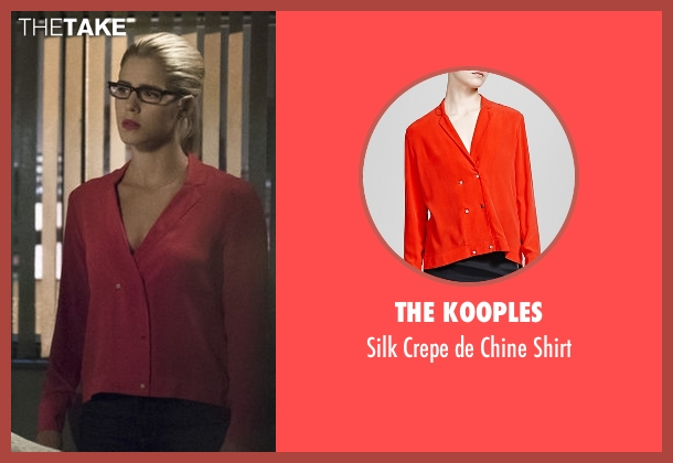 The Kooples red shirt from Arrow seen with Felicity Smoak (Emily Bett Rickards)