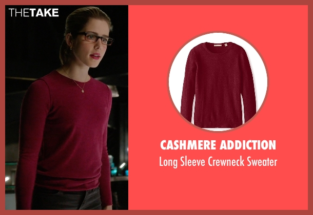 Cashmere Addiction red sweater from Arrow seen with Felicity Smoak (Emily Bett Rickards)