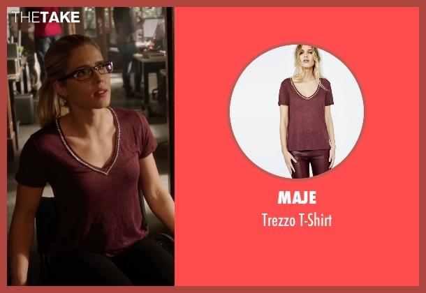 Maje red t-shirt from Arrow seen with Felicity Smoak (Emily Bett Rickards)