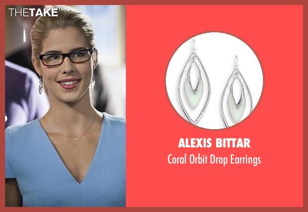 Alexis Bittar silver earrings from Arrow seen with Felicity Smoak (Emily Bett Rickards)