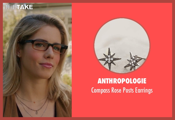 Anthropologie silver earrings from Arrow seen with Felicity Smoak (Emily Bett Rickards)
