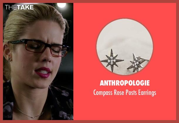 Anthropologie silver earrings from Arrow seen with Felicity Smoak (Emily Bett Rickards)
