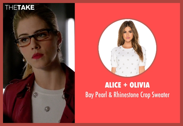 Alice + Olivia white sweater from Arrow seen with Felicity Smoak (Emily Bett Rickards)