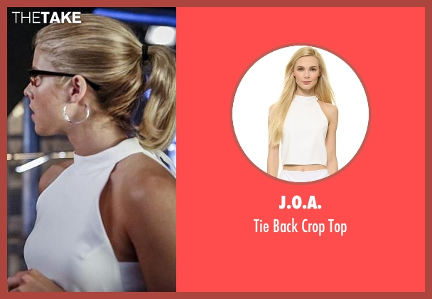 J.O.A. white top from Arrow seen with Felicity Smoak (Emily Bett Rickards)