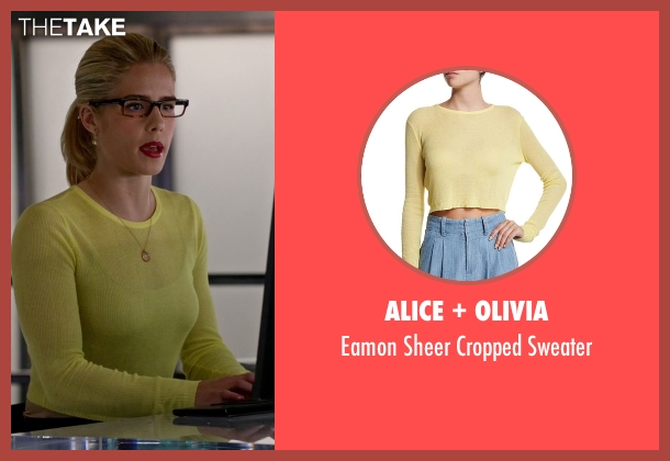 Alice + Olivia yellow sweater from Arrow seen with Felicity Smoak (Emily Bett Rickards)