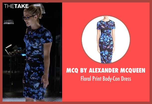 McQ By Alexander McQueen blue dress from The Flash seen with Felicity Smoak (Emily Bett Rickards)