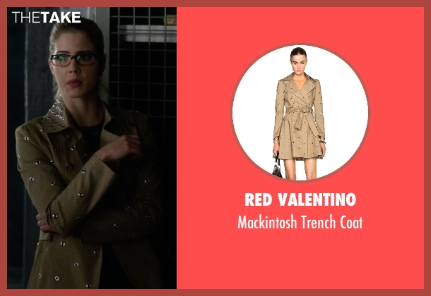 Red Valentino brown coat from The Flash seen with Felicity Smoak (Emily Bett Rickards)