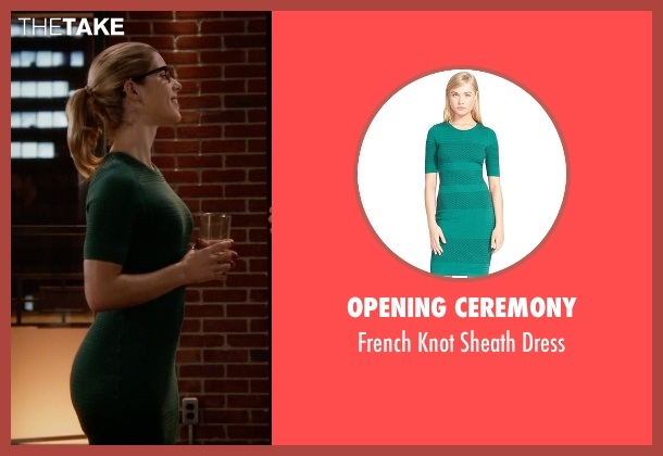Opening Ceremony green dress from The Flash seen with Felicity Smoak (Emily Bett Rickards)