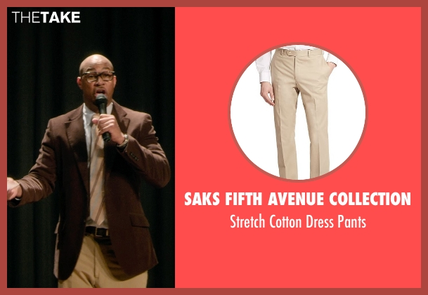 Saks Fifth Avenue Collection beige pants from Barely Lethal seen with Finesse Mitchell (Principal Weissman)