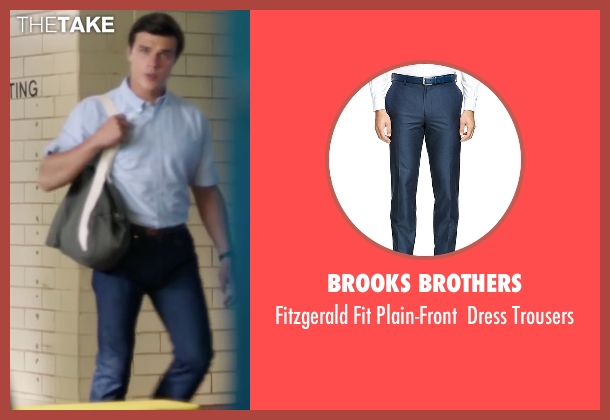Brooks Brothers blue trousers from My All American seen with Finn Wittrock (Freddie Steinmark)