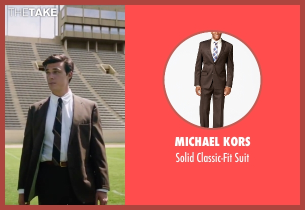 Michael Kors brown suit from My All American seen with Finn Wittrock (Freddie Steinmark)