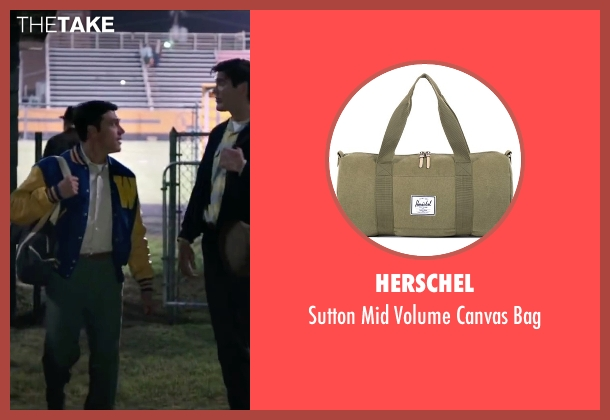 Herschel green bag from My All American seen with Finn Wittrock (Freddie Steinmark)
