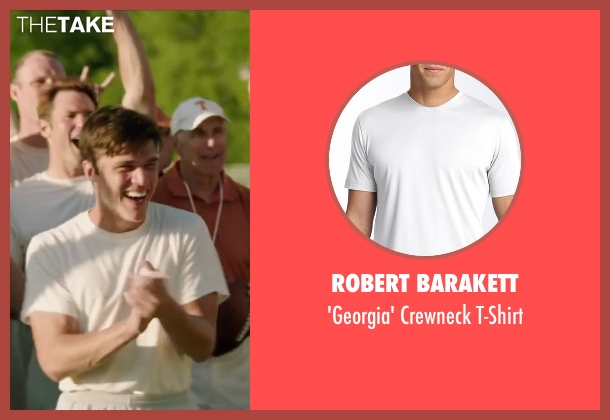 Robert Barakett white t-shirt from My All American seen with Finn Wittrock (Freddie Steinmark)