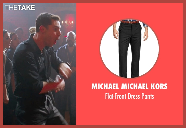 Michael Michael Kors black pants from Pitch Perfect 2 seen with Flula Borg (Unknown Character)