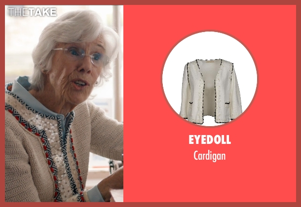 Eyedoll white cardigan from And So It Goes seen with Frances Sternhagen