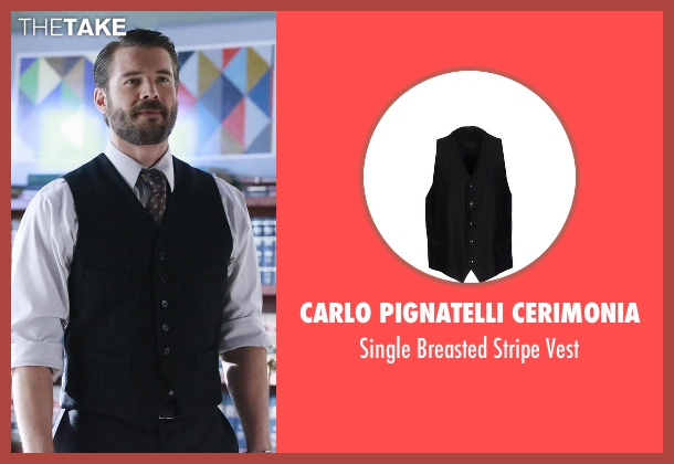 Carlo Pignatelli Cerimonia black vest from How To Get Away With Murder seen with Frank Delfino  (Charlie Weber)