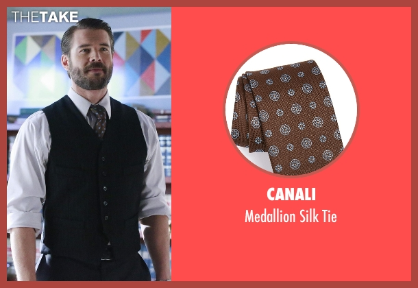 Canali brown tie from How To Get Away With Murder seen with Frank Delfino  (Charlie Weber)