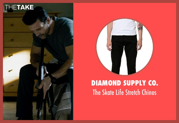 Diamond Supply Co. black chinos from The Purge: Anarchy seen with Frank Grillo (Sergeant)