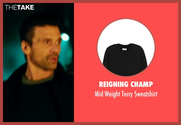 Reigning Champ black sweatshirt from The Purge: Anarchy seen with Frank Grillo (Sergeant)