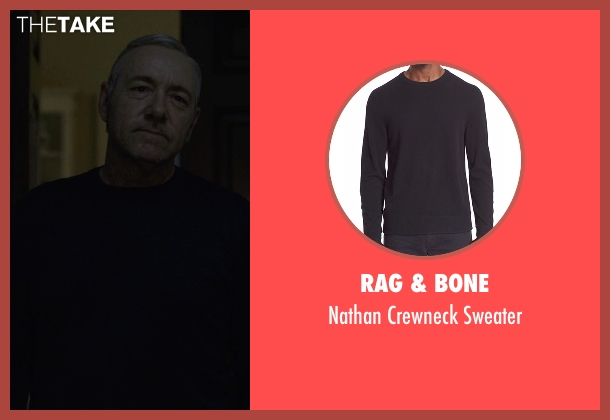 Rag & Bone black crewneck sweater from House of Cards seen with Frank Underwood (Kevin Spacey)