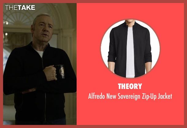 Theory black jacket from House of Cards seen with Frank Underwood (Kevin Spacey)
