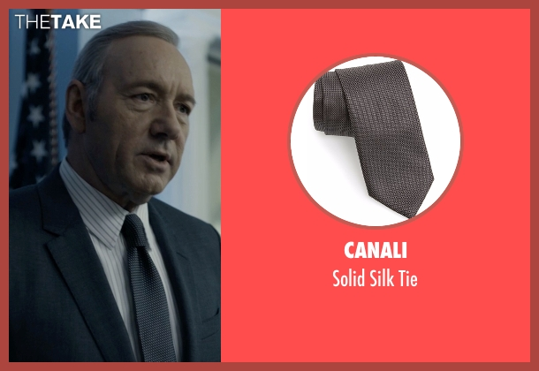 Canali black tie from House of Cards seen with Frank Underwood (Kevin Spacey)