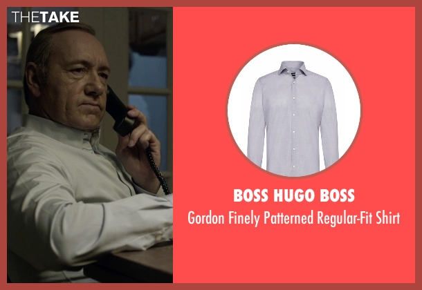 Boss Hugo Boss blue shirt from House of Cards seen with Frank Underwood (Kevin Spacey)
