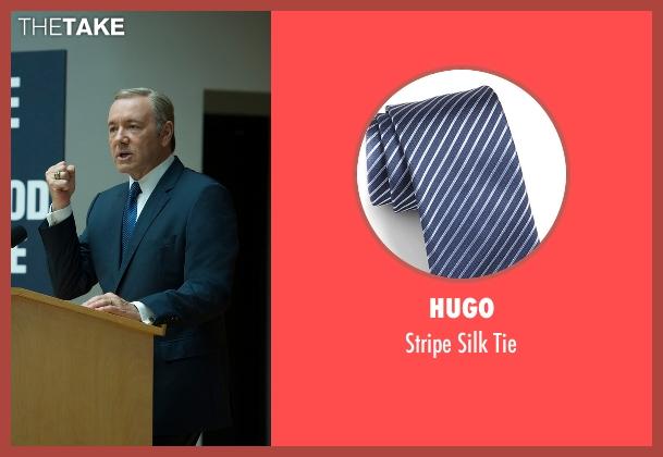 Hugo blue tie from House of Cards seen with Frank Underwood (Kevin Spacey)