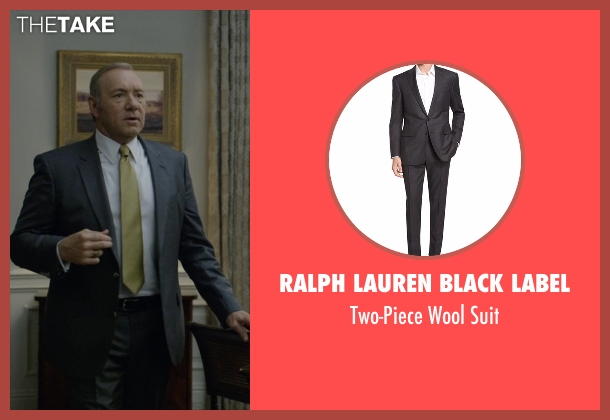 Ralph Lauren Black Label gray suit from House of Cards seen with Frank Underwood (Kevin Spacey)