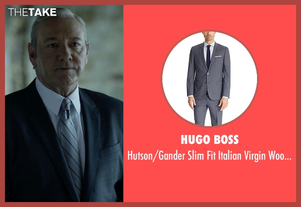 Hugo Boss  gray suit from House of Cards seen with Frank Underwood (Kevin Spacey)