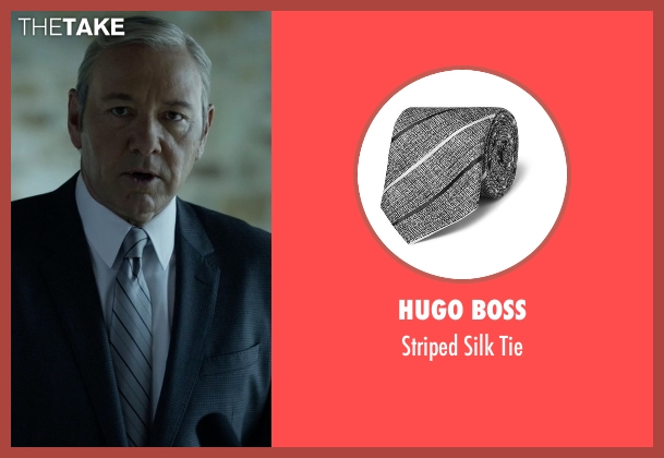 Hugo Boss gray tie from House of Cards seen with Frank Underwood (Kevin Spacey)