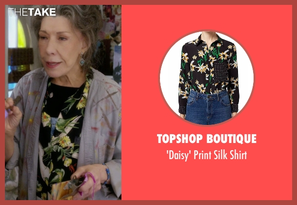 Topshop Boutique black shirt from Grace and Frankie seen with Frankie Bergstein (Lily Tomlin)