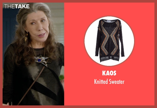 Kaos black sweater from Grace and Frankie seen with Frankie Bergstein (Lily Tomlin)