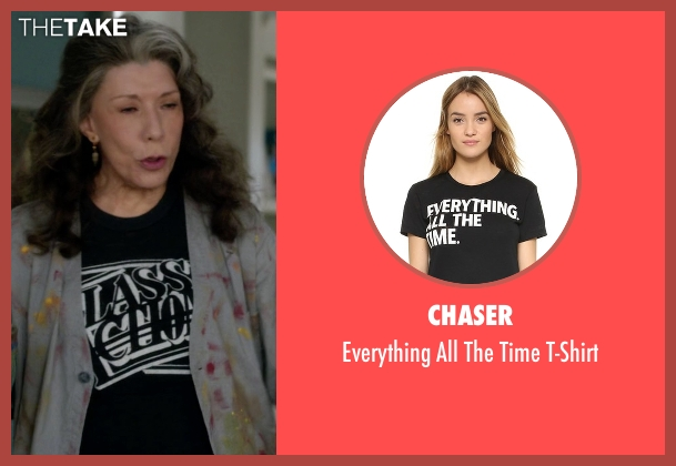 Chaser black t-shirt from Grace and Frankie seen with Frankie Bergstein (Lily Tomlin)