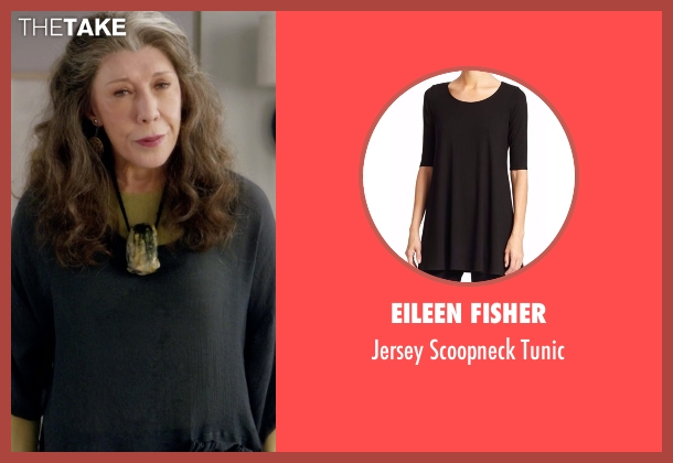Eileen Fisher black tunic from Grace and Frankie seen with Frankie Bergstein (Lily Tomlin)