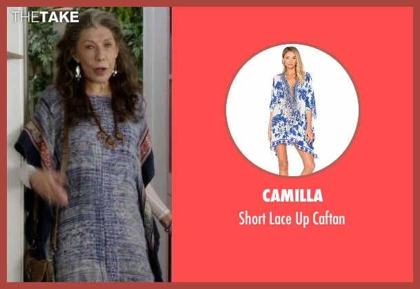 Camilla blue caftan from Grace and Frankie seen with Frankie Bergstein (Lily Tomlin)