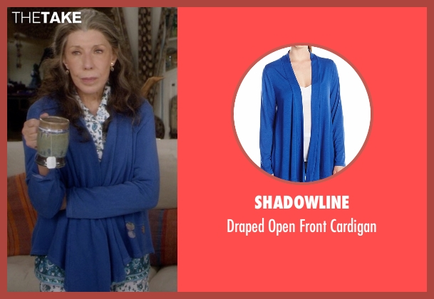 Shadowline blue cardigan from Grace and Frankie seen with Frankie Bergstein (Lily Tomlin)