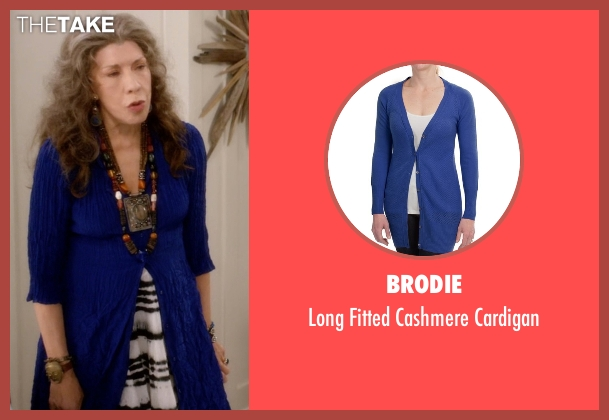Brodie blue cardigan from Grace and Frankie seen with Frankie Bergstein (Lily Tomlin)