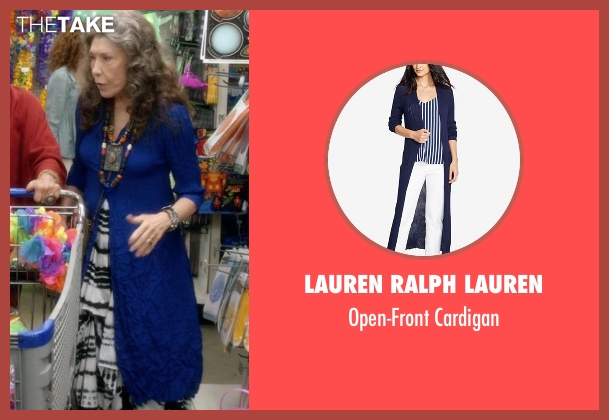 Lauren Ralph Lauren blue cardigan from Grace and Frankie seen with Frankie Bergstein (Lily Tomlin)