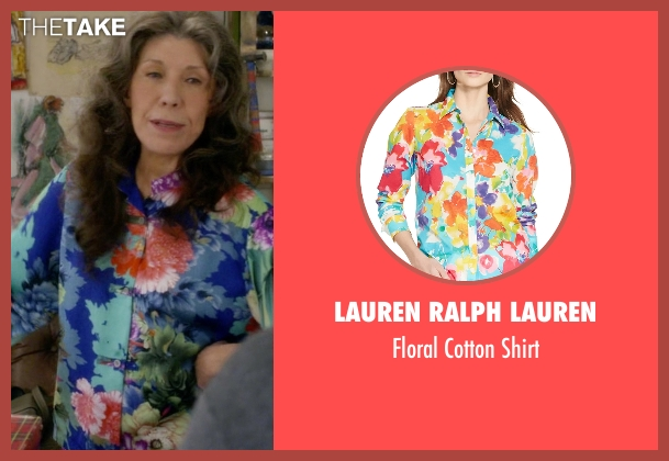 Lauren Ralph Lauren blue shirt from Grace and Frankie seen with Frankie Bergstein (Lily Tomlin)