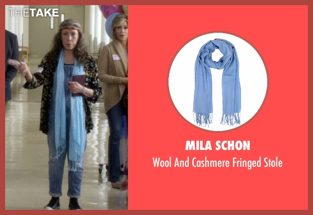 Mila Schon blue stole from Grace and Frankie seen with Frankie Bergstein (Lily Tomlin)