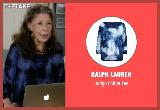 Ralph Lauren blue tee from Grace and Frankie seen with Frankie Bergstein (Lily Tomlin)