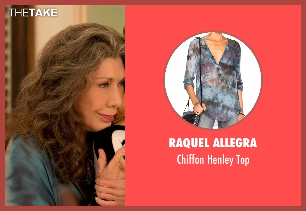 Raquel Allegra blue top from Grace and Frankie seen with Frankie Bergstein (Lily Tomlin)