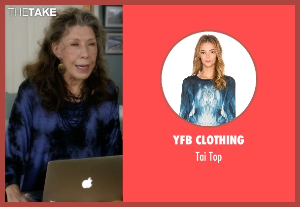 YFB Clothing blue top from Grace and Frankie seen with Frankie Bergstein (Lily Tomlin)