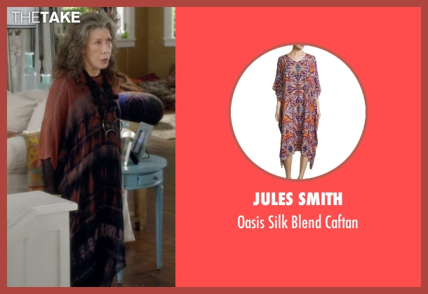 Jules Smith brown caftan from Grace and Frankie seen with Frankie Bergstein (Lily Tomlin)