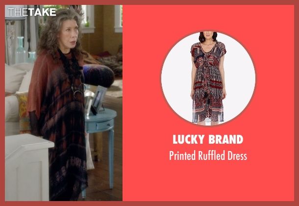 Lucky Brand brown dress from Grace and Frankie seen with Frankie Bergstein (Lily Tomlin)