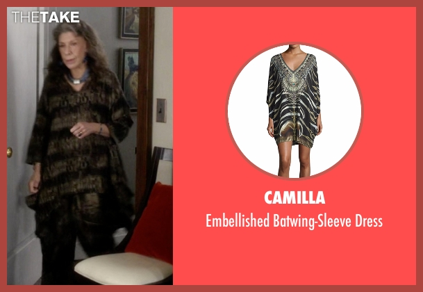 Camilla brown dress from Grace and Frankie seen with Frankie Bergstein (Lily Tomlin)