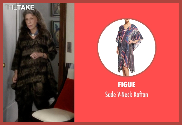 Figue  brown kaftan from Grace and Frankie seen with Frankie Bergstein (Lily Tomlin)