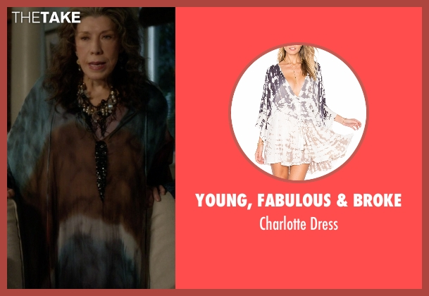 Young, Fabulous & Broke dress from Grace and Frankie seen with Frankie Bergstein (Lily Tomlin)