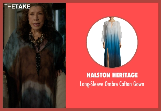 Halston Heritage  gown from Grace and Frankie seen with Frankie Bergstein (Lily Tomlin)